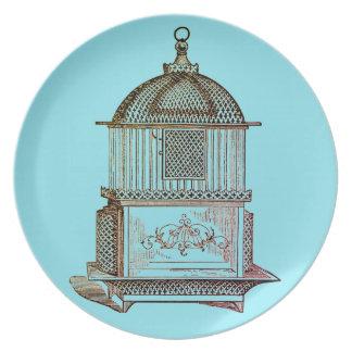 Plato Placas azules del Birdcage del vintage