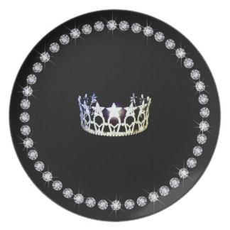 Plato Placas de plata del plástico de la corona de la