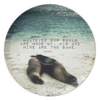 Plato Playa romántica Emily Bronte de la cita de los