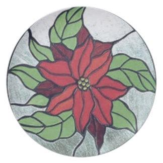 Plato Poinsettia del vitral