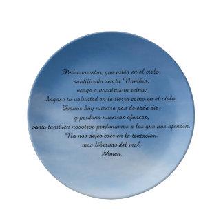 Plato porcelana, Padre Nuestro, español Plato De Cerámica