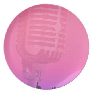Plato Poster de la audiencia de la noche del Karaoke