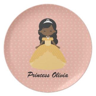 Plato Princesa afroamericana linda estupenda
