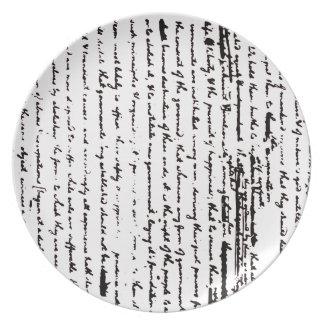 Plato Proyecto hermoso de la escritura a partir de 1776