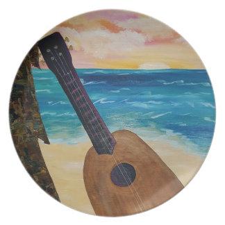 Plato puesta del sol de Hawaii