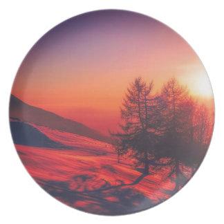Plato Puesta del sol de la tarde Nevado