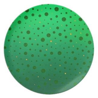 Plato Puntos elegantes - oro verde - el día de St