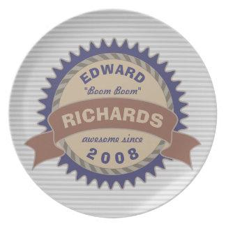 Plato Rayas azules del gris del logotipo de Brown del