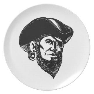 Plato Remiendo Scratchboard del ojo del pirata que lleva
