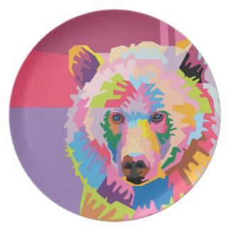 Plato Retrato colorido del oso del arte pop