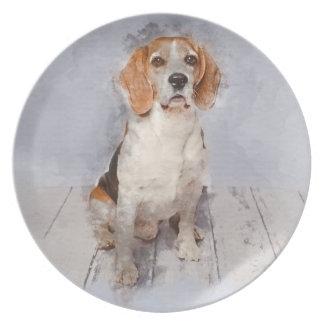 Plato Retrato lindo de la acuarela del beagle
