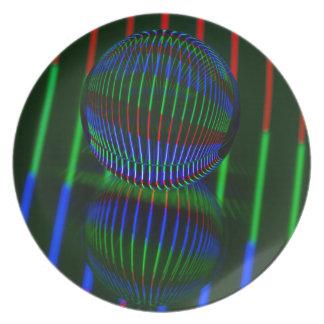 Plato Rojo, verde, azul en la bola de cristal