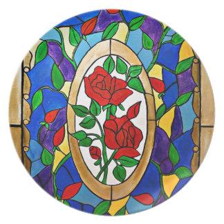 Plato Rosas rojos del vitral