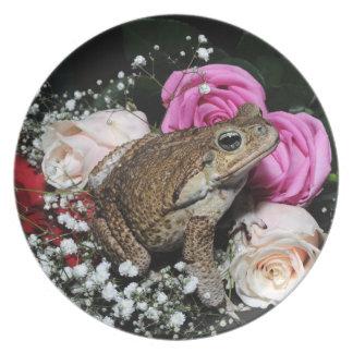 Plato Sapo del bastón en flores