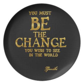 Plato Sea el cambio - cita inspirada de la acción de
