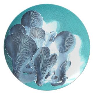 Plato Setas de ostra en azul