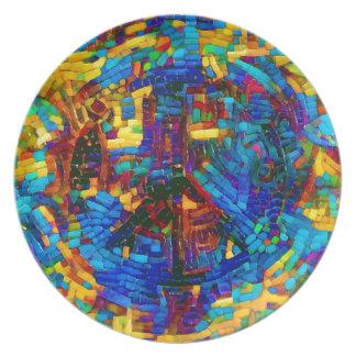 Plato Símbolo de paz colorido del mosaico