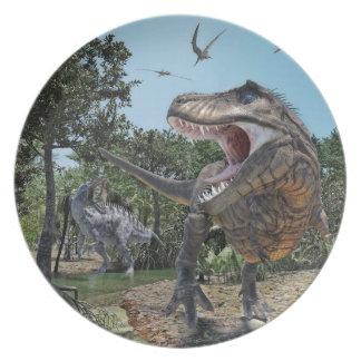 Plato Suchomimus y confrontación de Rex del