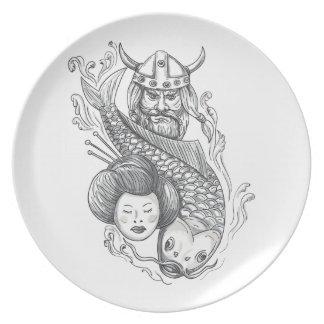 Plato Tatuaje de la cabeza del geisha de la carpa de