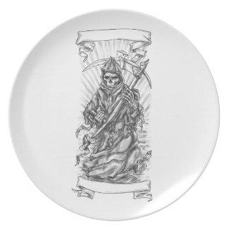 Plato Tatuaje de la cinta de la guadaña del parca