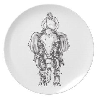 Plato Tatuaje del jinete del Mahout del elefante de la