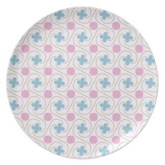 Plato Tessellation rosado y azul de la flor