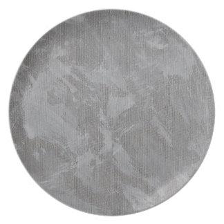 Plato Tinta blanca en el fondo de plata