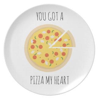 Plato Usted consiguió a pizza mi placa de la tarjeta del