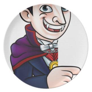 Plato Vampiro de Halloween del dibujo animado que señala