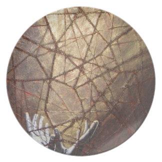 Plato Vidrio roto y luz del sol