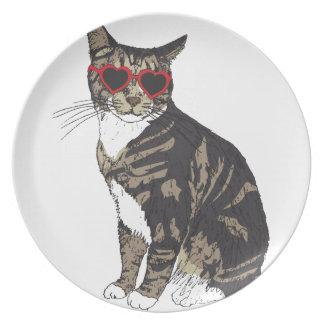 Plato Vidrios del corazón del gato que llevan