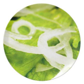 Plato Vista macra de las hojas del anillo de la lechuga