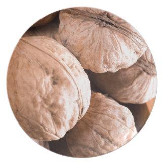 Plato Vista macra de un grupo de nueces viejas