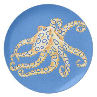 Plato Vitral azul del pulpo