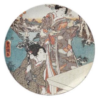 Plato Voluta vieja del vintage del geisha japonés del