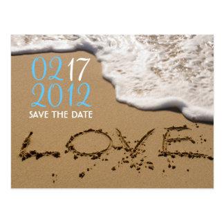 "Playa ""amor en reserva de la arena"" la fecha postal"