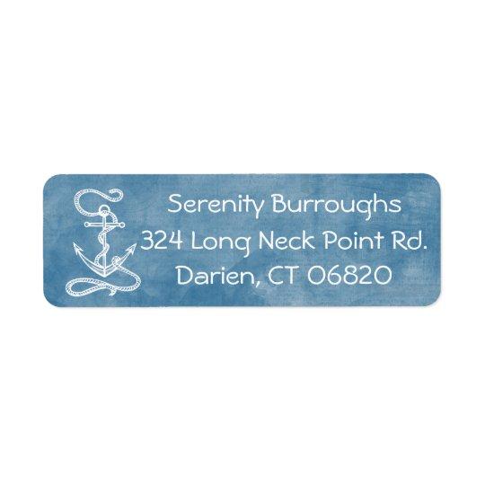Playa azul del marinero de la acuarela del ancla etiqueta de remite