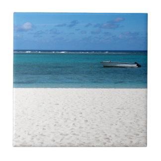 Playa blanca de la arena del overloo del en Flac Azulejo Cuadrado Pequeño