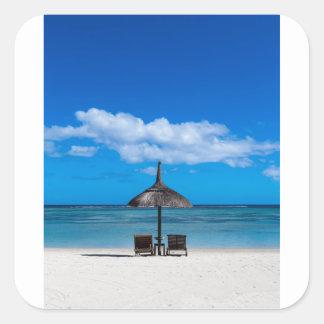 Playa blanca de la arena del overloo del en Flac Pegatina Cuadrada