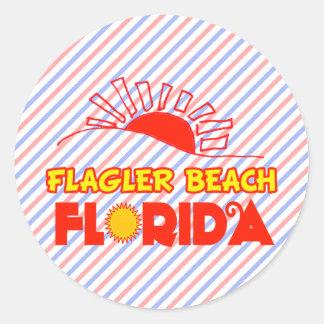 Playa de Flagler, la Florida Pegatina Redonda