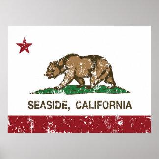 Playa de la bandera del estado de California Póster