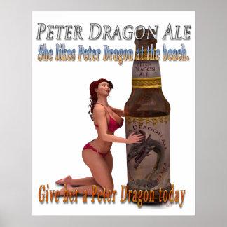 Playa de la cerveza inglesa del dragón de Peter Póster