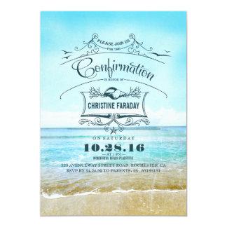 Playa de la confirmación invitación 12,7 x 17,8 cm