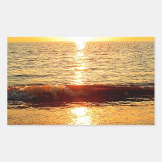 Playa de la puesta del sol, Cape May NJ Pegatina Rectangular