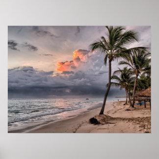 Playa de la República Dominicana, paisaje hermoso Póster
