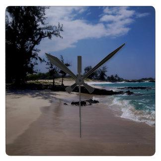 Playa de Makalawena Reloj Cuadrado