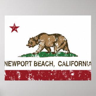 Playa de Newport de la bandera del estado de Calif Póster