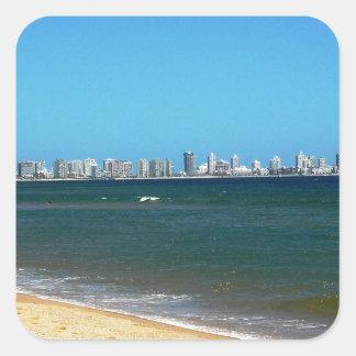Playa de Punta del Este Pegatina Cuadrada
