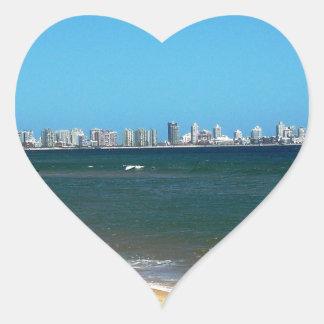 Playa de Punta del Este Pegatina En Forma De Corazón