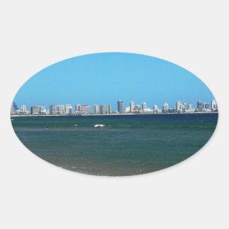 Playa de Punta del Este Pegatina Ovalada